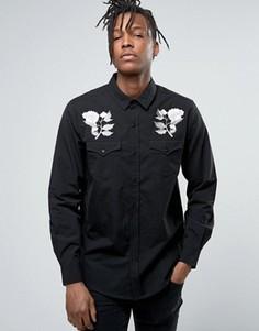 Рубашка с вышивкой роз Rollas - Черный Rollas
