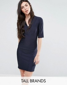 Платье в рубчик с рукавами до локтя Y.A.S Tall Calice - Темно-синий