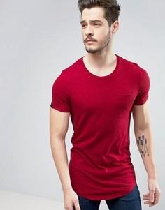 Длинная хлопковая футболка с карманом Produkt - Красный