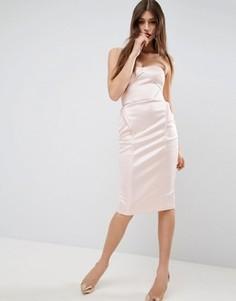 Атласное облегающее платье миди с драпировкой ASOS Scuba - Розовый