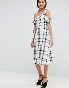 Платье миди на одно плечо в черно-белую клетку ASOS - Мульти