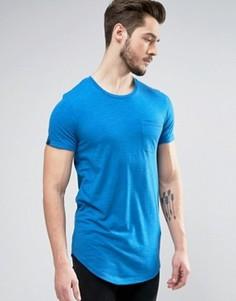 Длинная меланжевая хлопковая футболка с карманом Produkt - Синий
