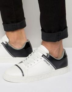 Белые кроссовки с молниями Versace Jeans - Белый