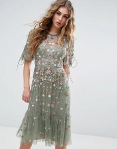Платье миди с цветочной отделкой Needle and Thread - Зеленый
