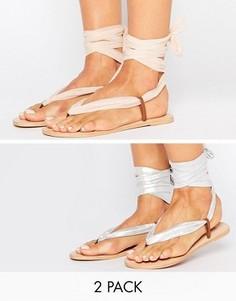 Набор из двух пар сандалий с завязками ASOS FREAK - Мульти