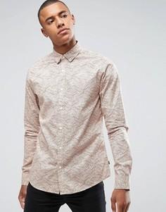 Узкая рубашка с принтом Only & Sons - Бежевый