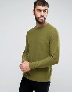 Вязаный джемпер с подвернутой кромкой Only & Sons - Зеленый