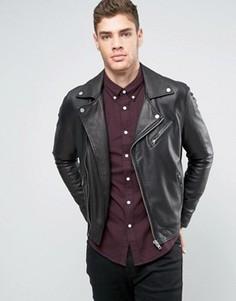 Кожаная байкерская куртка Lee - Черный