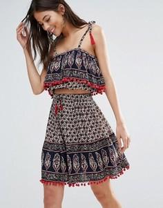 Мини-юбка с принтом и топом бандо Anmol - Мульти