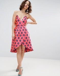 Жаккардовое платье-бандо мини с запахом ASOS SALON - Мульти