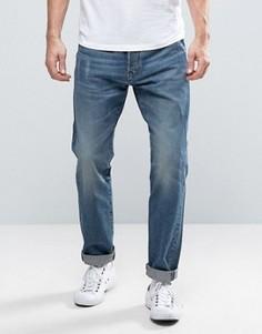 Выбеленные синие джинсы с окантовкой на кармане G-Star Riban - Синий