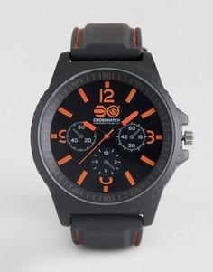 Черные часы с красными указателями Crosshatch - Черный