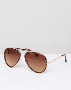 Черепаховые солнцезащитные очки-авиаторы D-Struct - Коричневый