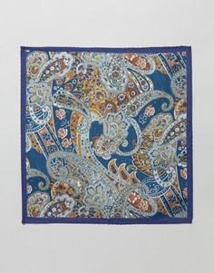 Шелковый платок для пиджака с принтом пейсли ASOS - Темно-синий