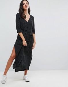 Платье макси в горошек с застежкой на пуговицы и поясом Goldie Breezy - Черный