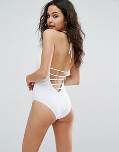 Слитный купальник с завязкой на шее Vero Moda - Белый