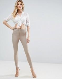 Зауженные брюки со швами ASOS - Коричневый