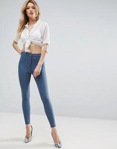 Зауженные брюки со швами ASOS - Синий