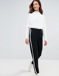Строгие брюки с белой полосой Brave Soul - Черный