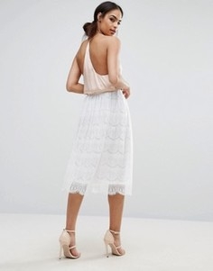 Кружевная юбка миди Boohoo - Белый