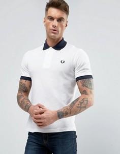 Белая футболка-поло с контрастной синей отделкой в рубчик Fred Perry REISSUES - Белый