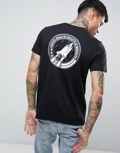 Темно-синяя футболка классического кроя с принтом на спине Alpha Industries Nasa - Черный