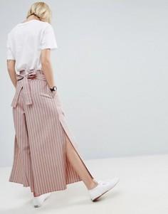 Широкие брюки в полоску с завязкой на спине и разрезами ASOS - Мульти