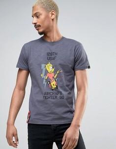 Темно-серая футболка классического кроя с принтом Alpha Industries - Серый