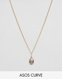 Ожерелье с бусиной и небольшим медальоном ASOS CURVE - Розовый