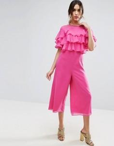 Комбинезон с юбкой‑шортами и оборками ASOS - Розовый