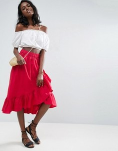 Хлопковая юбка миди с запахом и кромкой-оборкой ASOS - Красный