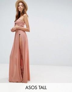 Пляжная юбка макси от костюма с разрезами ASOS TALL - Розовый