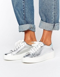 Серебристые кроссовки на платформе Juicy Couture Bellonaa - Серебряный