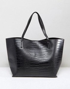 Сумка-тоут с отделкой под крокодиловую кожу Glamorous - Черный