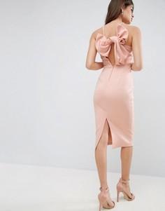Платье-футляр миди с бантом на спине ASOS - Розовый