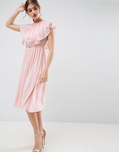 Платье миди с рукавами-оборками и отделкой на талии ASOS - Бежевый