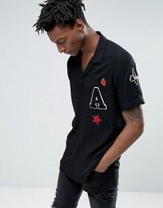 Рубашка классического кроя с отложным воротником и нашивками ASOS - Черный
