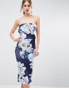 Платье-бандо миди с цветочным принтом и асимметричной оборкой ASOS - Мульти