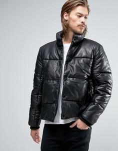 Черная дутая кожаная куртка ASOS - Черный