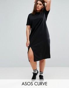 Платье-футболка миди с разрезами по бокам ASOS CURVE Ultimate - Черный
