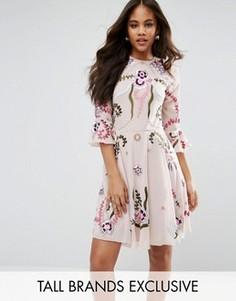 Свободное платье-премиум мини с отделкой и рукавами клеш Frock And Frill Tall - Розовый