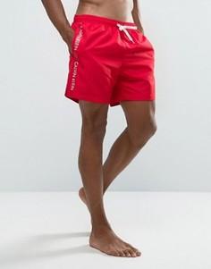 Шорты для плавания с фирменной лентой Calvin Klein ID - Красный