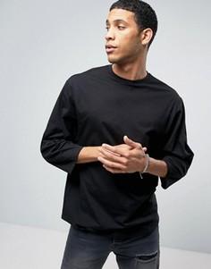 Черная оversize-футболка с зауженными рукавами ASOS - Черный