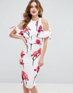 Платье миди с открытыми плечами, цветочным принтом и фактурным бантом ASOS - Мульти