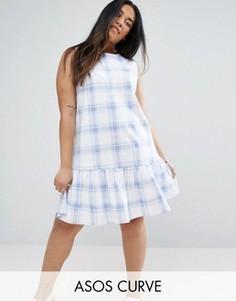 Клетчатое платье пастельного голубого цвета ASOS CURVE - Мульти