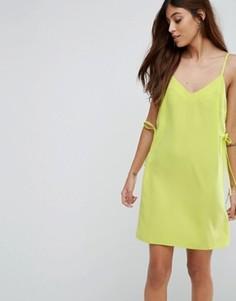 Платье мини на бретелях с люверсами ASOS - Зеленый