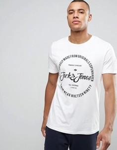 Футболка с круглым вырезом и принтом логотипа Jack & Jones Originals - Белый