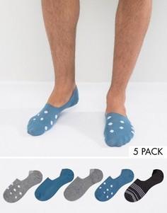 Набор из 5 пар носков-невидимок с узором в горошек и полоску ASOS - Мульти