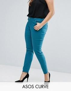 Сине-зеленые джинсы скинни с классической талией ASOS CURVE LISBON - Зеленый