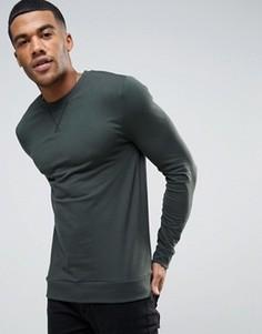 Легкий облегающий свитшот зеленого цвета ASOS - Зеленый